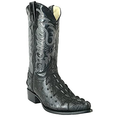 Men's New Leather Ostrich Quill Crocodile Design Cowboy Western Boots J Toe Black