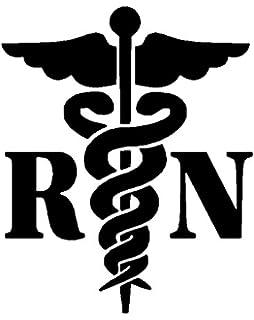 caduceus registered nurse rn white decal window sticker
