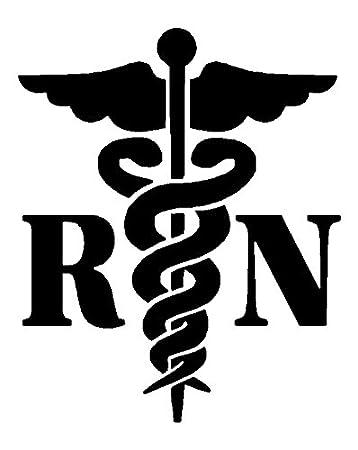 amazon caduceus registered nurse rn white decal window sticker Emergency RN caduceus registered nurse rn white decal window sticker