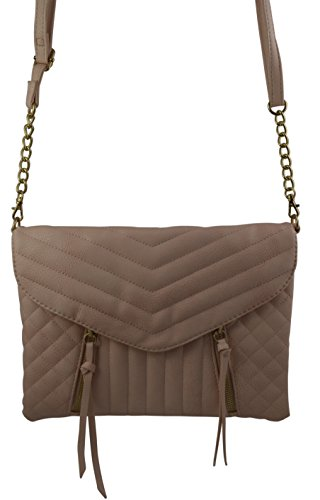 Women's Girl's Quilted Crossbody Bag Clutch Purse V-Flap Quilt Envelope Chain Shoulder Bag (Blush) (Purse Quilt Handbag)