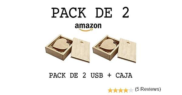 USB de Madera (8GB) PACK de 2 USB Corazón De Madera + Caja de ...