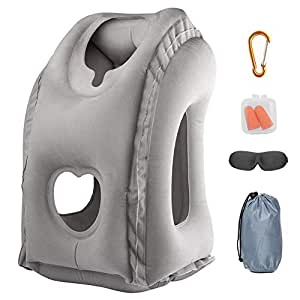 Aukor Inflatable Neck Pillow Used for Airplanes/Cars/Buses/Trains/Office Napping with Free Eye Mask/Earplugs,Gray Gray