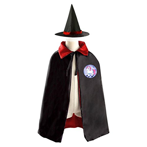 DIY Beautiful Unicorn Costumes Party Dress Up Cape Reversible with Wizard Witch Hat