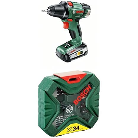 Pack duo Perceuse-visseuse 'Expert' Bosch (1 batterie) et coffret X-line (50 pcs)