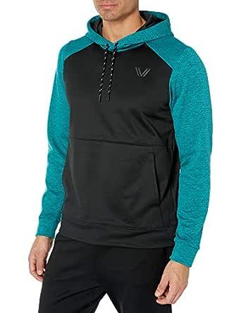 Peak Velocity Men's Quantum Fleece Pull-Over Loose-Fit Hoodie, Punch Green Heather/Black, Small