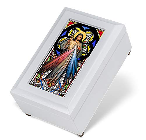 Hail Mary Gifts 1pc, Stained Glass with Real Wood Divine Mercy White Music Box - Music Box Stained Glass