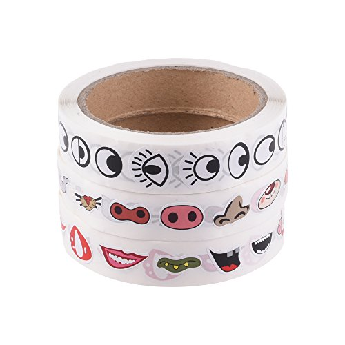 Bluecell Colorful Eye Nose Mouth Cartoon Mini Sticker Decal for Party Favor Décor Notebook Sticker Coloring Book-3 rolls/2200pcs by Bluecell World