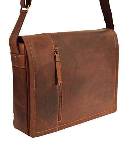Herren Messenger Leder Tasche Laptop Büro Uni College Vintage Schulter Schulranzen HLG120 Öl Hellbraun