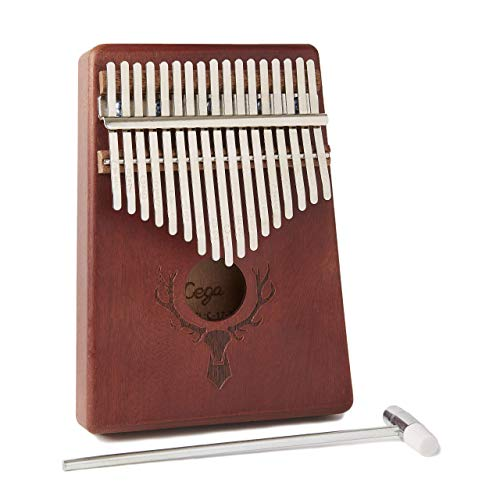 (TimberTunes 17-Key Kalimba Thumb Piano, Solid Natural Mahogany Wood, Engraved Deer Antlers on Sound Hole, Locking System with Tuning Hammer and Instruction Booklet, Engraved Key Notes)