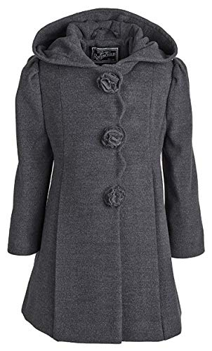 (Rothschild Girls Faux Wool Dress Coat with Hood (Charcoal, 5/6))