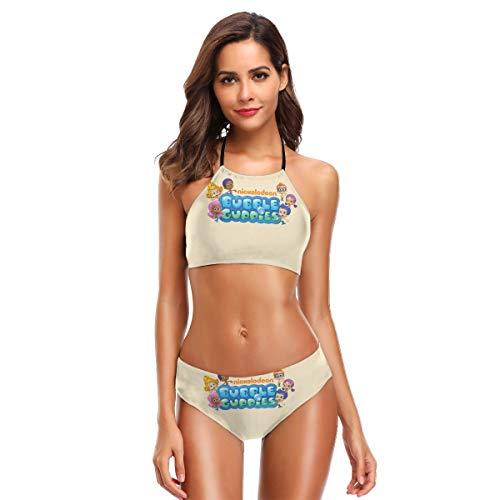 Bubble Guppies Logo Chic Bikini Halter Two Pieces Swimsuits for Women Black