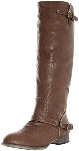 Breckelle's Outlaw-81 Vegan Leather Mid Calf Round Toe Motorcycle Boots TAN (6) by Breckelle's