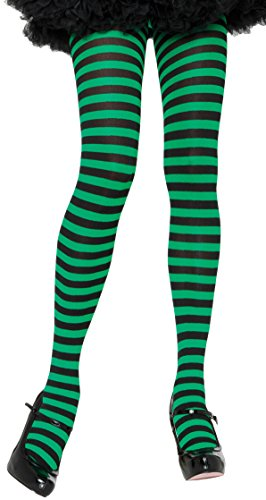 ToBeInStyle Women's Nylon Horizontal Striped Tights - Black/KGreen - One Size -
