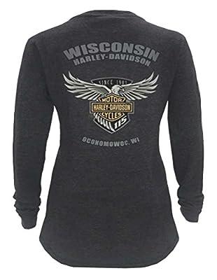 Harley-Davidson Women's 115th Anniversary Glittery Wings Thermal Shirt, Gray