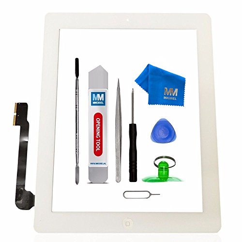 MMOBIEL Digitizer for iPad 3 (White) 9.7 Inch Touch Screen Front Display Assembly Incl Home Button flex Camera Holder Pre Installed Adhesives and Tool kit by MMOBIEL