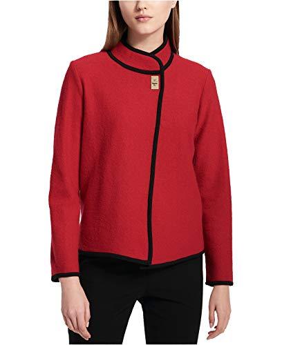 Calvin Klein Long Sleeve Cardigan - Calvin Klein Women's Short Boiled Wool Jacket, Rouge, XS