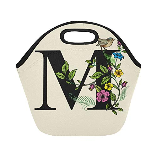 Insulated Neoprene Lunch Bag Letter M With Flowers And Bird Large Size Reusable Thermal Thick Lunch Tote Bags For Lunch Boxes For Outdoors,work, Office, School