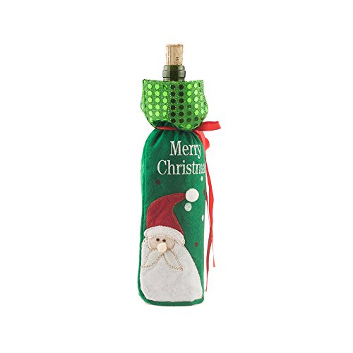 Chi Christmas Ornament (Chibuy Christmas Snowman Wine Bottle Cover Santa Claus Red Wine Gift Bags Pretty Xmas home Deco (Green))