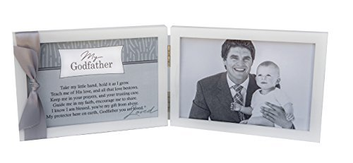 My Godfather, You Are Loved Poem White Double Hinged 4 x 6 Photo Frame with Ribbon
