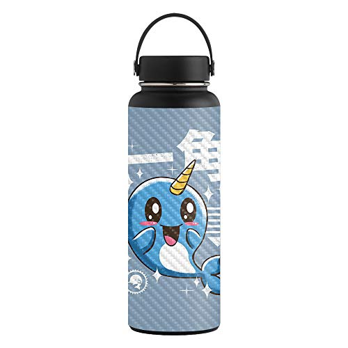 MightySkins Carbon Fiber Skin for 40 oz. Wide Mouth - Narwhal Kawaii | Protective, Durable Textured Carbon Fiber Finish | Easy to Apply, Remove, and Change Styles | Made in The USA (Smiling With The Mouth Of The Ocean)