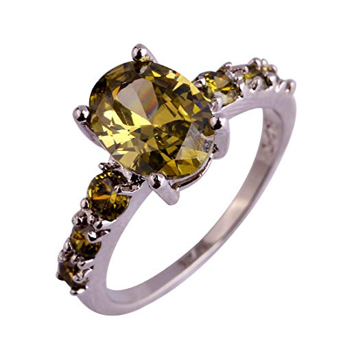 Psiroy Women's 925 Sterling Silver 2ct Created Peridot Filled Engagement Ring ()