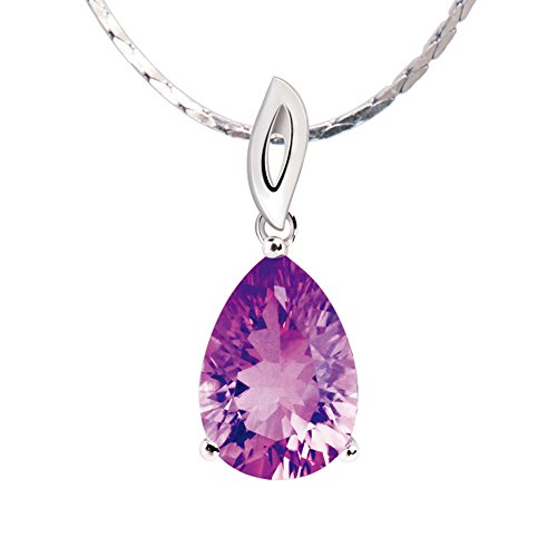 iSTONE Natural Gemstone Amethyst Faceted Purple Water Drop Pendant Necklace 925 Sterling Silver 16''