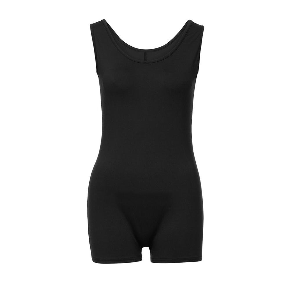 dd4611502eec Amazon.com  vermers Women Sexy Rompers Summer Solid Sleeveless Short Sports  Jumpsuit Bodysuit Skinny Playsuits  Clothing