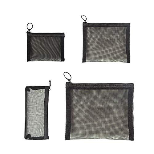 Patu Zipper Mesh Bags, Pack of 4 (S/M/L & Pencil Pouch), Beauty Makeup Cosmetic Accessories Organizer, Travel Toiletry Kit Set Storage Case, Black