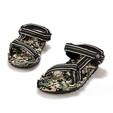 SHOES-XJIH&Uomini sandali estivi Casual in pelle tacco piatto altri blu arancio bianco a piedi,arancione,noi6-6.5 / EU38 / UK5-5.5 / CN38
