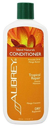 Aubrey Organics Island Naturals Conditioner * RICH MANGO & ORGANIC SHEA BUTTER, AVOCADO OIL & COCONUT MILK * TROPICAL REPAIR FOR DRY HAIR - NSF Certified Organic - 11oz
