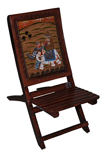 Indian Wooden Chair Handicraft Hand Carved Royal Elephant Riding Painted Folding Wooden Chairs