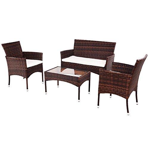 MRT SUPPLY 4PCS Outdoor Patio PE Rattan Wicker Table Shelf Sofa Furniture Set With Cushion with Ebook (Patio Iron Wrought Vintage Furniture Woodard)