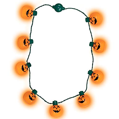 Windy City Novelties LED Light Up Halloween Pumpkin Jack O Lantern Necklace Party Favors (Jack O Lanterns Up Light)