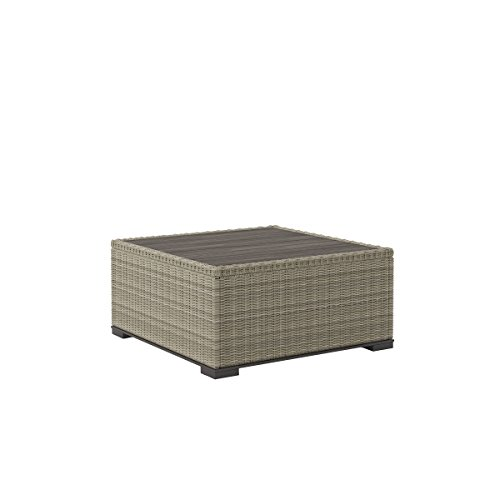 Silent Square - Ashley Furniture Signature Design - Silent Brook Outdoor Square Cocktail Table - Resin Wicker - Wood-Look Resin Top - Beige