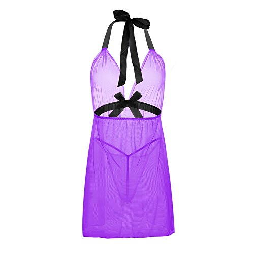 LKOUS Women Transparent Babydoll Halter Chemise Sexy Outfits Lingerie