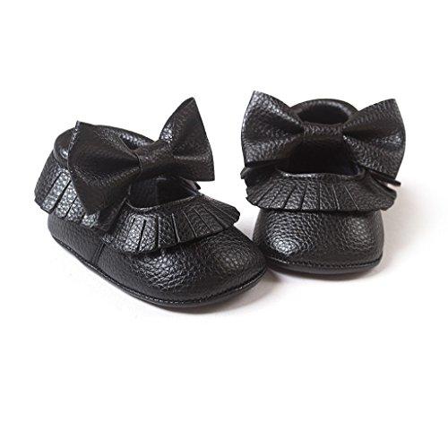 Por 0-12 meses bebé,Auxma Bebé Soft bowknot zapatos Negro