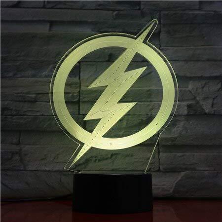 Dc Justice League The Flash Logo Usb 3D Led Luz De Noche Dibujos Animados Superh/éroe Ni/ños Ni/ño Ni/ños Cumplea/ños Regalos L/ámpara De Mesa Mesita De Noche
