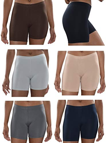 Sexy Basics Womens 6 Pack Buttery Soft Brushed Active Yoga Stretch Mini -Bike Short Boxer Briefs (6 Pack - CORE Solids, XXX-Large)