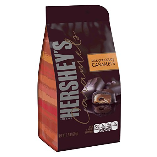 Milk Chocolate Covered Caramels (HERSHEY'S Caramels, Milk Chocolate Candy Filled with Caramel, 7.2 Ounce Bag (Pack of 8))