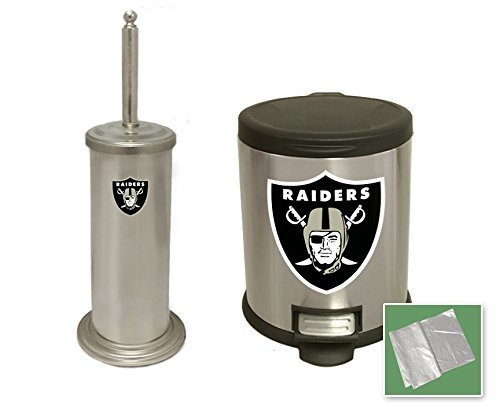 2-Pc Set - Stainless Steel and Black Step Trash Can Waste Basket and Toilet Brush with Holder Featuring the Choice of Your Favorite Football Team Logo (Raiders) (Wastebasket Raiders)