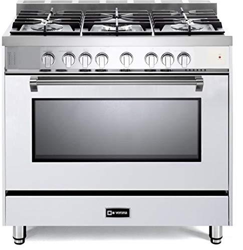 Verona Prestige Series VPFSGG365W 36 inch All Gas Range Convection Oven 5 Sealed Burners Storage Drawer - Prestige Lp Series