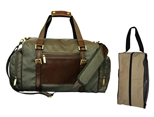 C&B Bainbridge Traveler Leather Handle Duffel Bag Free Shoe Bag, 20'' L, , Green Warm Grey by Cutter & Buck