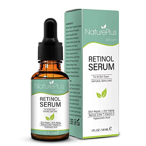 Retinol Serum 2.5% with Hyaluronic Acid, Aloe Vera, Vitamin E Face Moisturizer Cream for Anti Aging, Anti Wrinkle - Contains Many Organic and Natural Ingredients A+