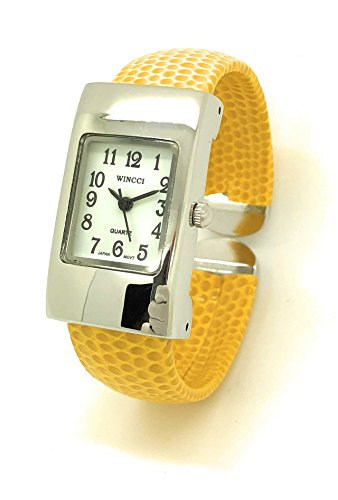 Ladies Small Rectangle Snakeskin Leather Bangle Cuff Watch White Dial Wincci (Yellow)