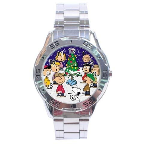 (Snoopy The Peanuts Christmas Party Holiday Stainless Steel Analog Men's Watch For Men Women Students)