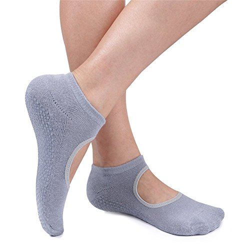 Amazon.com : MsFeng Womens Yoga Barre Socks Non Slip Skid for Barre Pilates Ballet 3 Pairs Cotton Socks : Sports & Outdoors