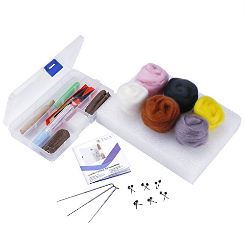 OPount Needle Felting Starter Kit Wool Felt Tools with 6 Colors Wool Roving Felting Basic Kit
