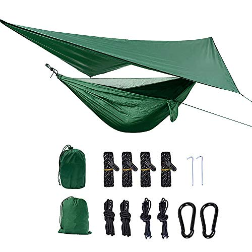 Camping Hammock with Mosquito Net and Rainfly Tarp Portable Lightweight Nylon 2 Person Hammocks with Tree Straps for Outdoor Travel Backpacking