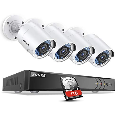 (ANNKE Surveillance Camera System, 8CH 3MP CCTV DVR Recorder with 1TB Hard Drive and (4) Ultra Clear 100ft Night Vision Full-HD 1080P Security Camera for Outdoor Use, Email Alert with Snapshot)