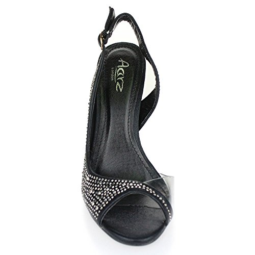 Aarz señoras de las mujeres de la tarde Banquete de boda del alto talón del dedo del pie abierto de las sandalias de novia Diamante tamaño de los zapatos (Oro, Plata, Champán, Rojo, Negro) Negro